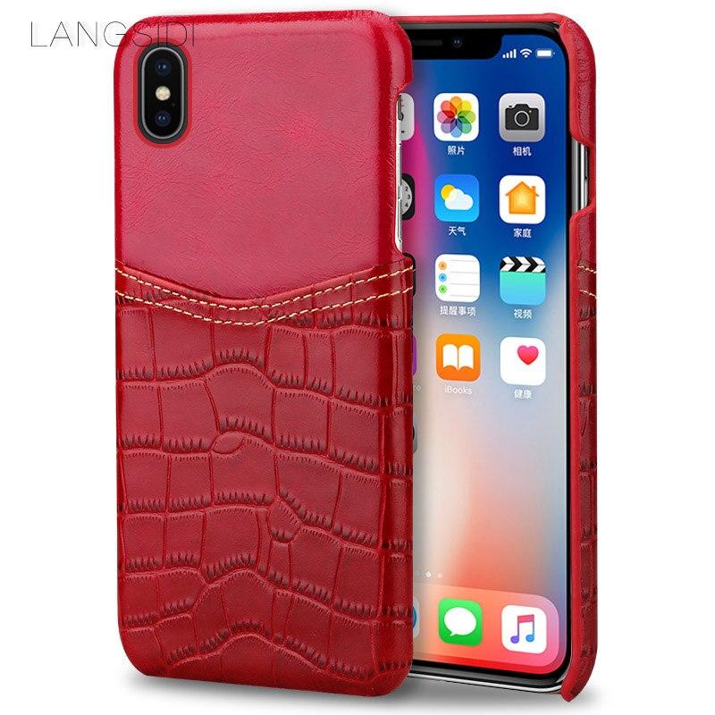Wangcangli coque de téléphone motif crocodile carte en cuir coque de téléphone pour iphone X coque de téléphone tout à la main traitement personnalisé - 4