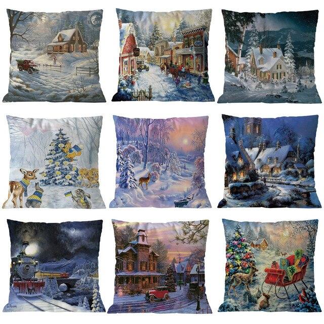 9 stili di Nuovo anno Ornamenti Coperture per Cuscini di Cotone di Tela Coperte