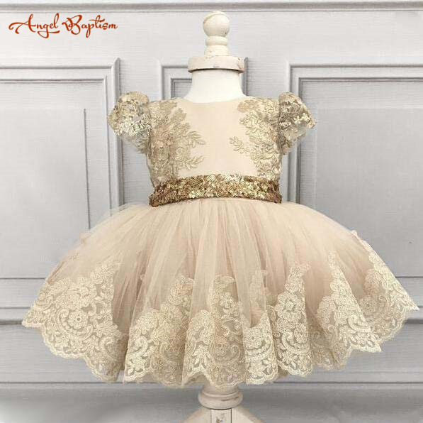 Ball gown puffy V-back champagne flower girl dresses lace appliques with gold sequins bow baby 1 year birthday party outfits black sequins embellished open back lace up top