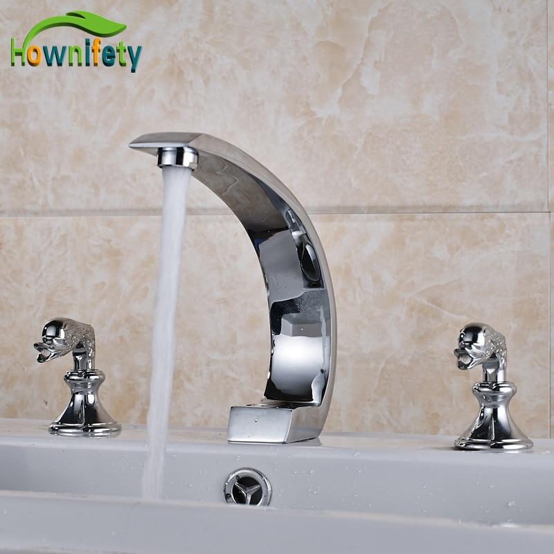 Chrome Polished Bathroom Sink Faucet Double Handles Mixer Tap Countertop Basin Mixer Tap polished chrome waterfall flow bathroom sink basin mixer faucet double handles wall mounted mixer taps
