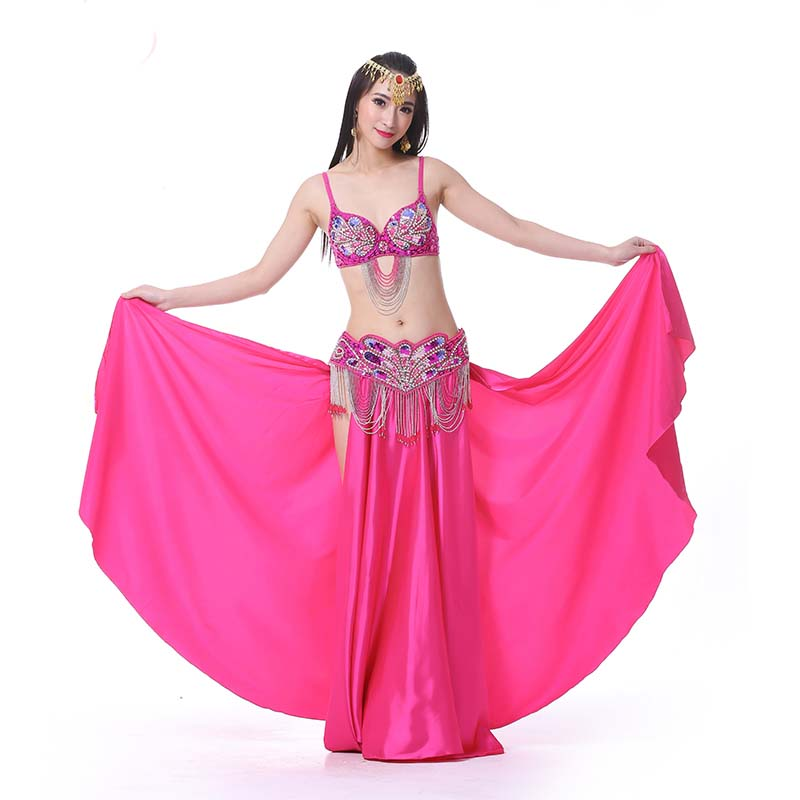 NEW Belly Dance Costume Outfit Set Bra Top Belt Hip Scarf Bollywood 3PCS 12Color