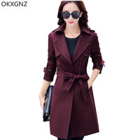 OKXGNZ Spring Autumn Women Coat 2017 New High Quality Costume Windbreaker Pure Color Lace Up Big