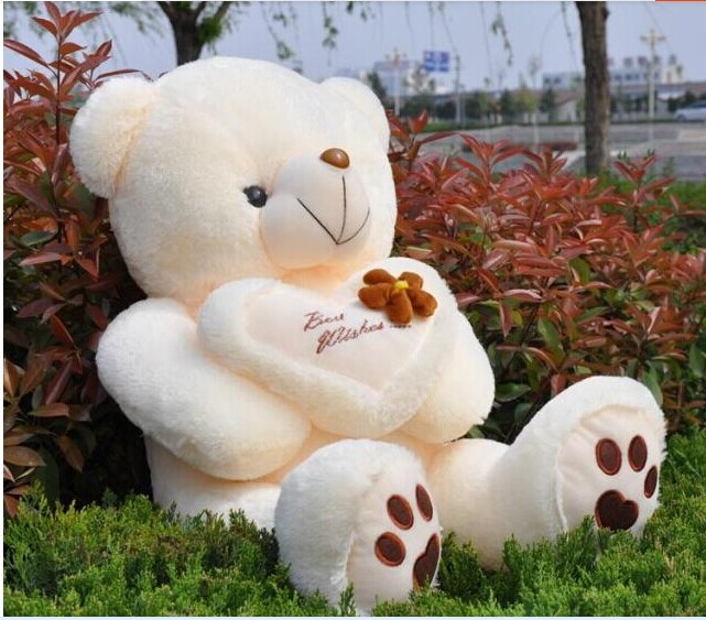 huge plush teddy bear toy lovely heart bear with 'best wishes' on the heart birthday gift about 120cm huge lovely plush teddy bear toy with blue heart and bow creative bear doll gift about 120cm