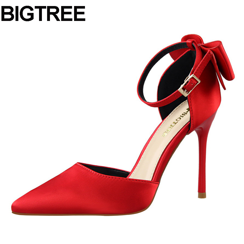 BIGTREE Office Lady Pointy Toe Bow Shoes Satin Ankle Strap Buckle High Heels Stilettos Bowtie Bow Knot Women Pumps Thin Heels bigtree spring summer women pumps sweet bow knot high heeled shoes thin pink high heel shoes hollow pointed stiletto elegant 22