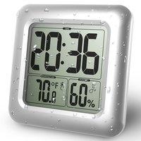 Baldr Digitale Wandklok Zuignap Waterdicht Keuken Badkamer Temperatuur Vochtigheid Sensor Tijd Horloge Douche Klok