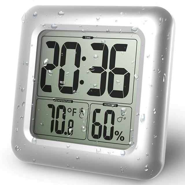 Baldr Waterdichte Badkamer Klok LCD Digitale Muur Spiegel Zuignap ...