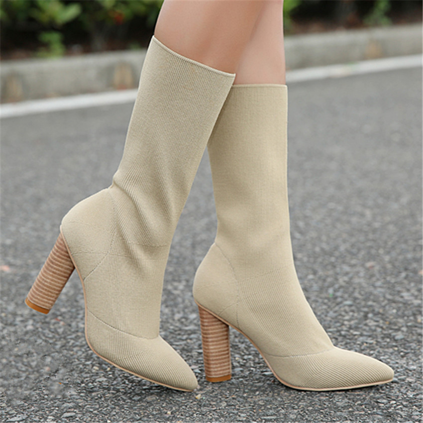 Fashion Apricot Women Knit Sock Booties Women High Heels Pointed Toe Stretch Ankle Boots Women Pumps