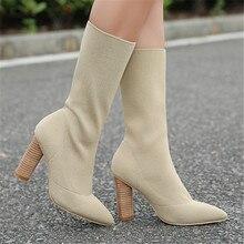 Fashion Apricot Frauen Stricken Socke Booties Frauen High Heels Spitz Stretch Stiefeletten Frauen Pumpt Blockabsatz Botines Mujer