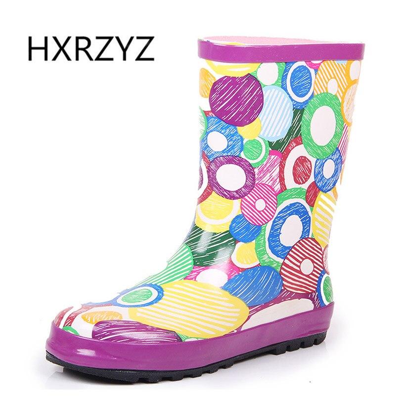 HXRZYZ женщин дождь сапоги женские ботильоны резиновые сапоги весна/осень новая мода симпатичные граффити скольжению непромокаемую обувь женщин