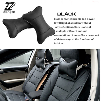 ZD 2PCS For Ford Focus 2 3 Fiesta Mondeo Ranger Kuga Seat Leon Ibiza Lexus Car Headrest Neck Pillow Accessories Leather Cushion image
