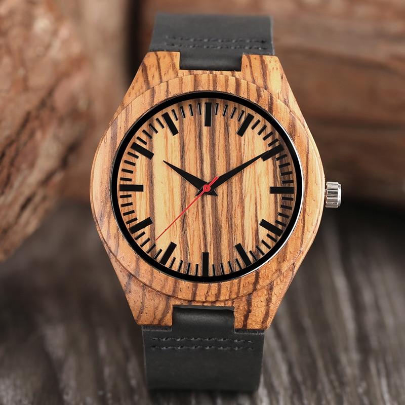 Minimalist Lovers Gifts Men's Bamboo Wooden Quartz Watch Women's Natural Ebony Wood Sports Clock Genuine Leather Reloj De Madera