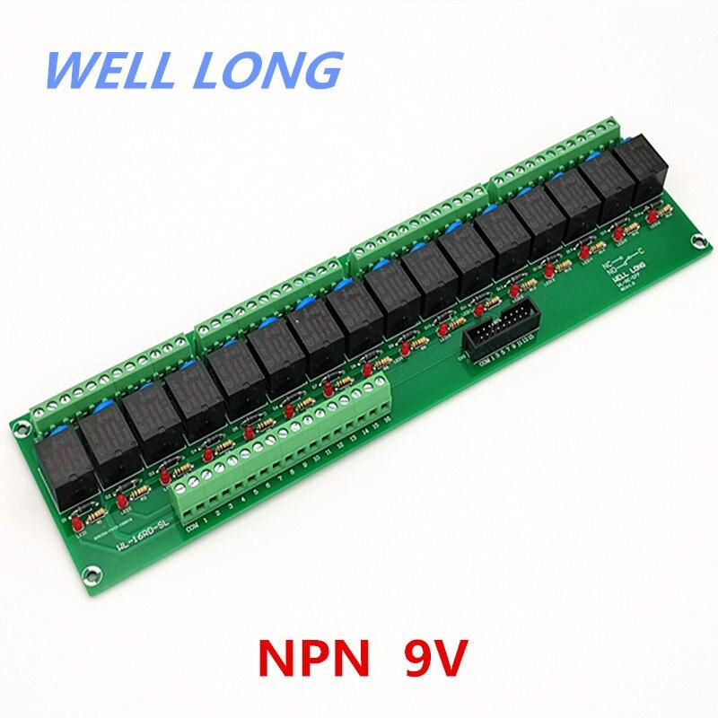 Module d'interface de relais de puissance de Type 9V 15A de NPN de 16 canaux, relais de JQC-3FF-9V-1ZS HF.