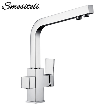 цена на Smesiteli Kitchen Faucets Silver Polished 3 Way Water Tap Filter Faucets Solid Brass 360 Degree Rotation Drinking Water Faucets