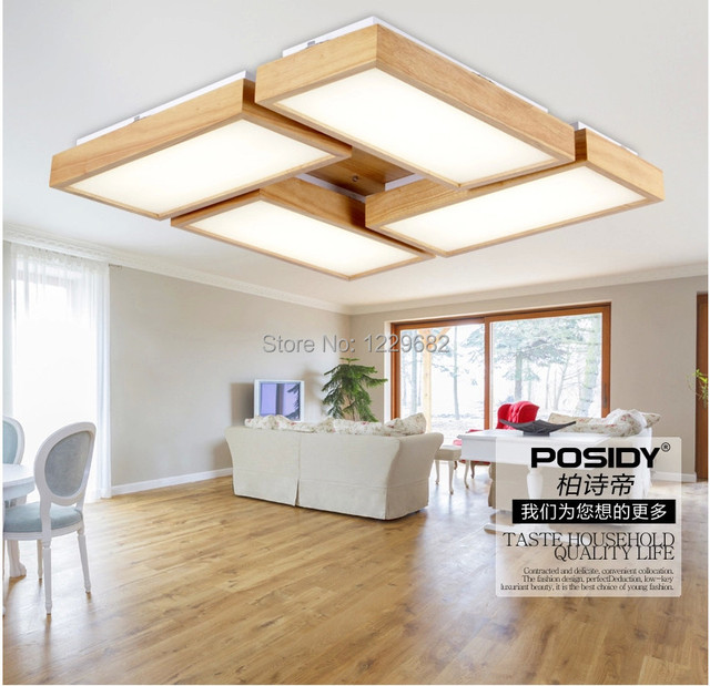 Modern home lighting living room wood ceiling lights New creative ...