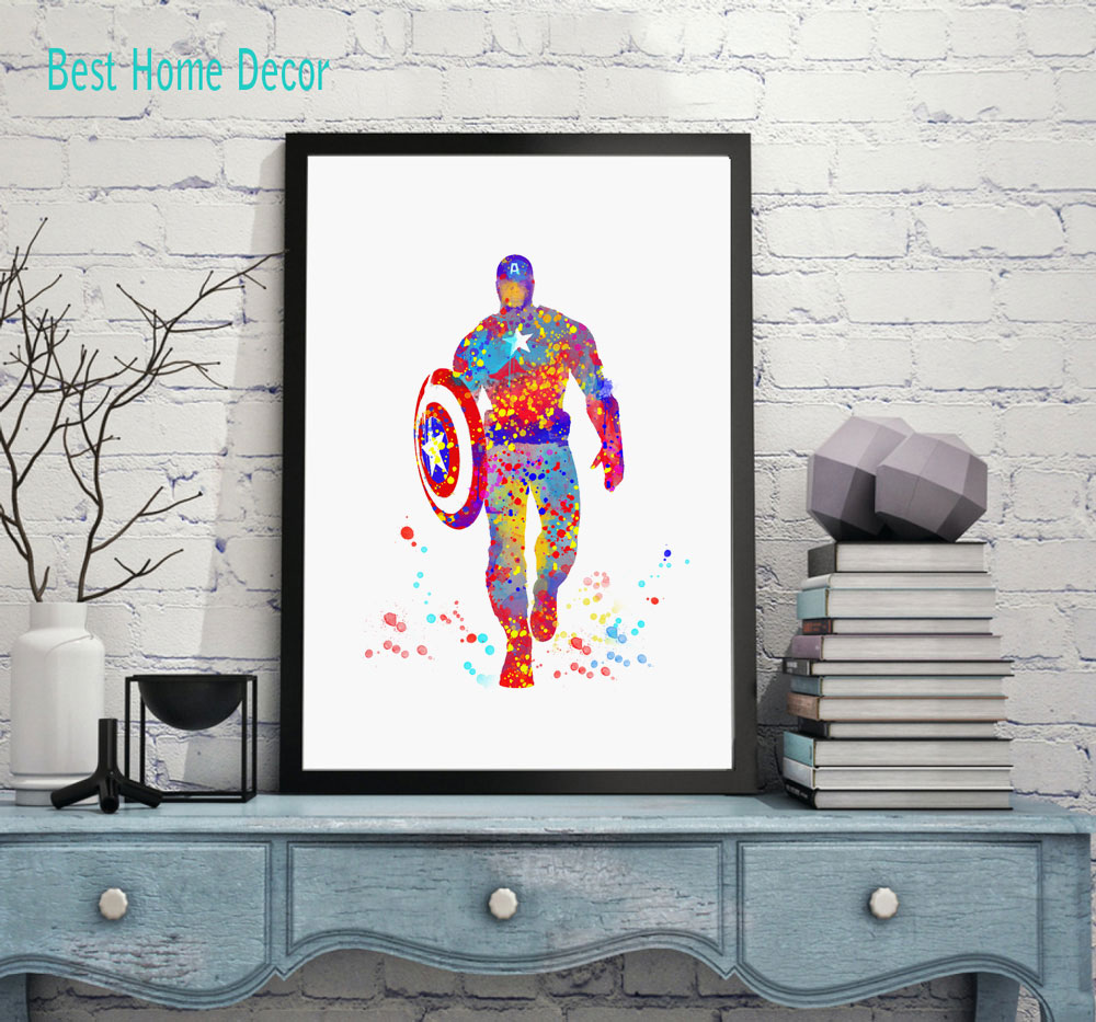 buy captain america art print original watercolor civil war poster the avengers. Black Bedroom Furniture Sets. Home Design Ideas
