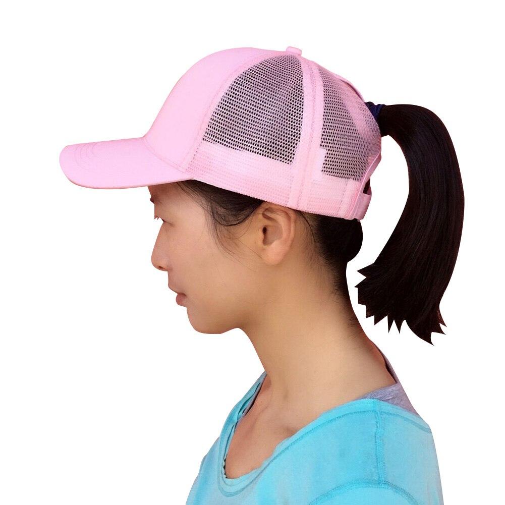 e0f139ea Summer Men Women Mesh Baseball Cap Ponytail Breathable Adjustable Back  Trucker Golf Peaked Hat Headwear New Ladies Basic Hat Cap