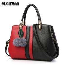 OLGITUM Neue Frauen Umhängetasche Mode Umhängetasche Pu-leder hohe Qualität Handtasche für Dame 4 Farben mit Schöne Blätter HB721
