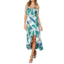 Women Leaves Printed Boho Dress V-Neck Ladies Summer Beach Sundress Ruffles Asymmetric Hem Vintage Dresses #BF(China)