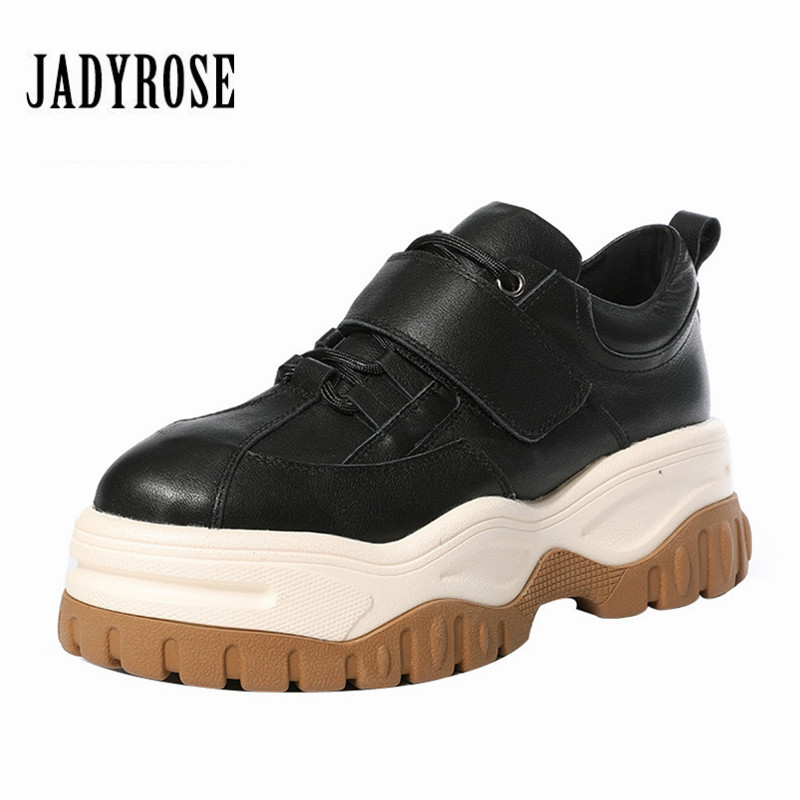 Jady Rose 2019 New Real Leather Women Sneakers Platform Creepers Flat Shoes Woman Female Casual Flats