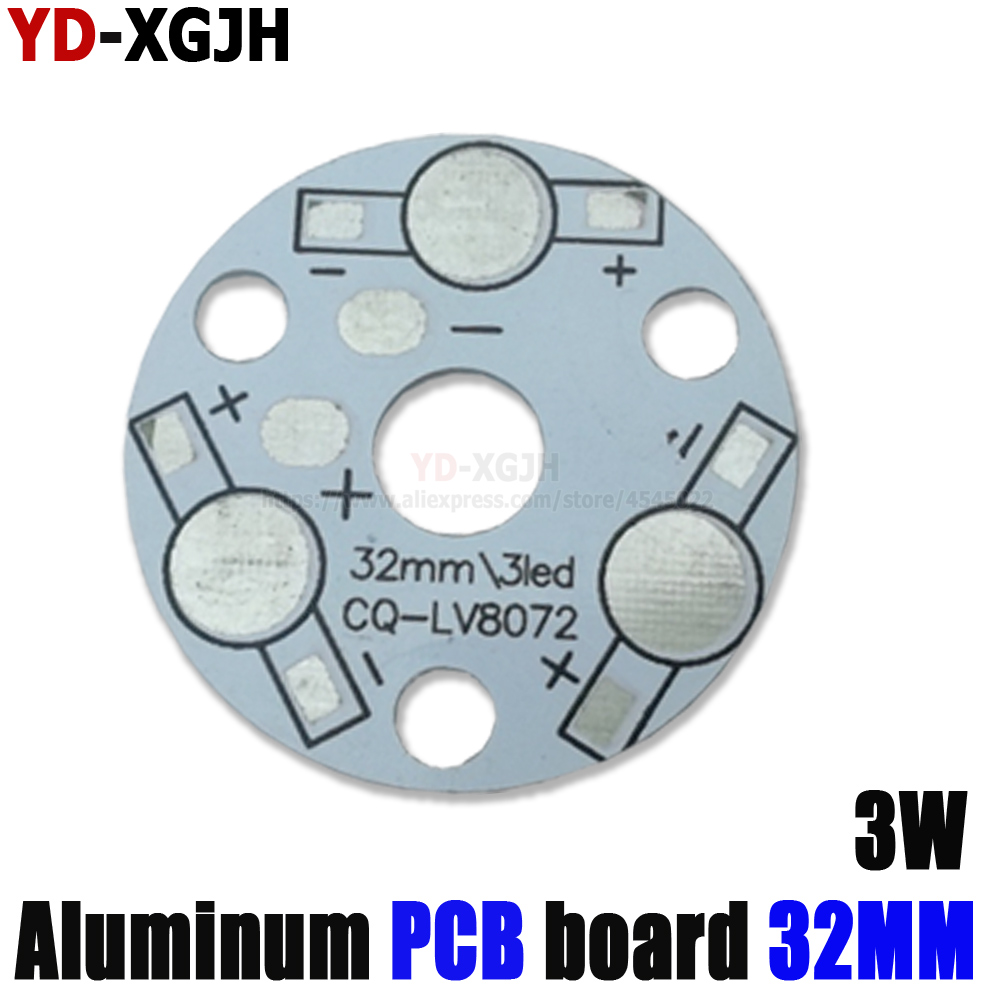 High power PCB Board Plate Lamp Panel Aluminum Heat sink 3W <font><b>32MM</b></font> <font><b>Round</b></font> Rectangle LED Lamp <font><b>Base</b></font> image