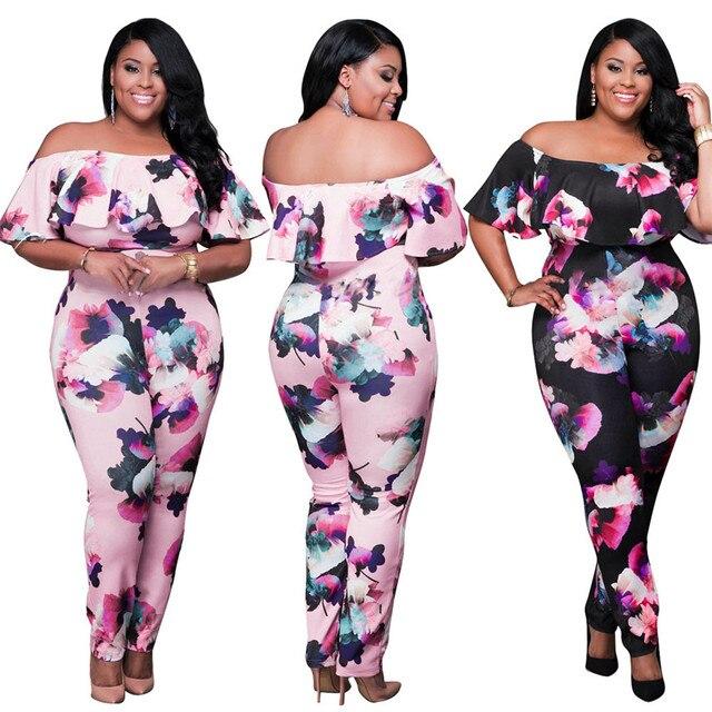 eb5eb77a0f1 Fashion Women Jumpsui Spring Summer Slash Neck Elegant Slim Plus Large Size  Women Floral Siamese Trousers