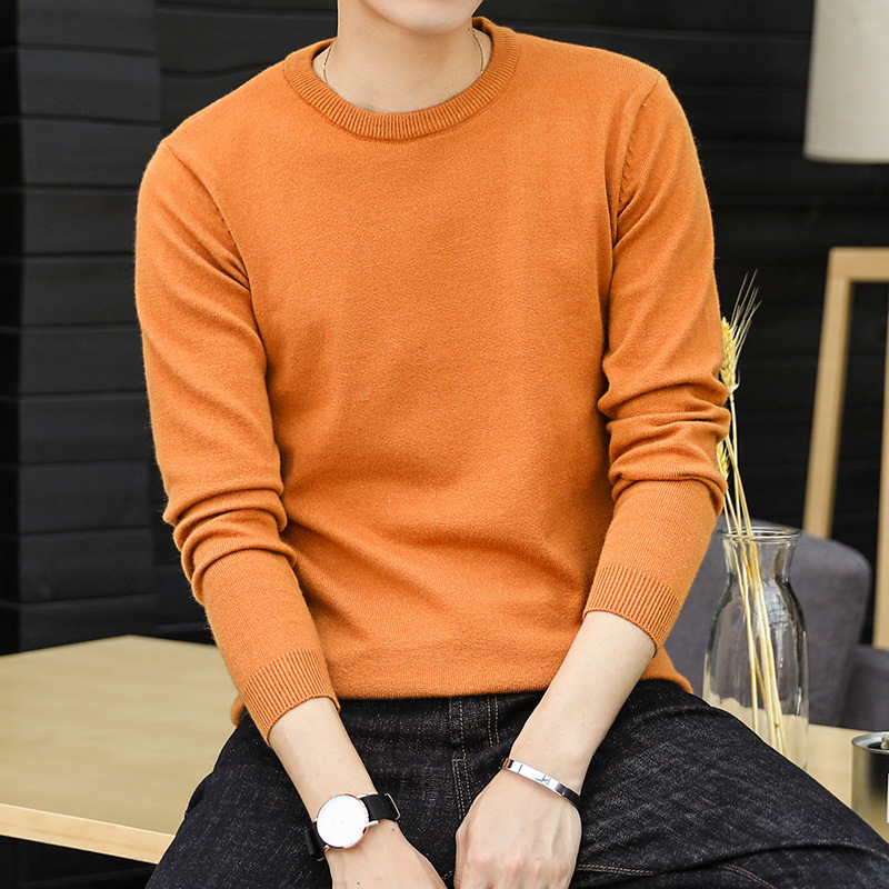 The Fall Of Men's Fashion Sweater Cotton Crewneck Sweater Pullover Color