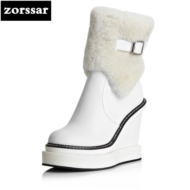 {Zorssar} 2018 New arrival Warm Plush snow Boots Women ankle boots High heel Wedges platform boots autumn Winter women shoes women winter warm snow boots cotton shoes hidden wedges heel increased ankle snowshoes lt88