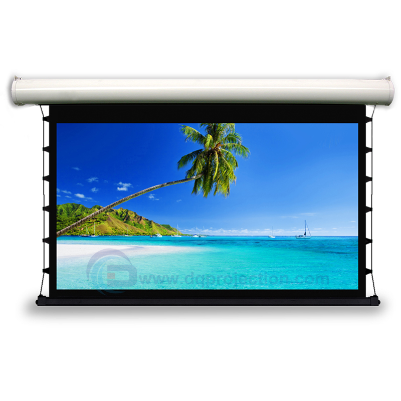 119 16:9 Luxury Electric Tab Tension Screen Home Theater High Quality Cinema Motorized Projector Screen luxury motorized electric tab tension 139inch 16 10 matte white home theater high quality cinema projector screen