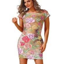 Модное платье Vestidos летние женские элегантные короткий рукав Цветочный принт Винтаж установлены Повседневное стрейч вечерние платье карандаш