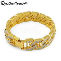 Bling 16mm Gold Tone Hip Hop Mens Curb Cuban Chain Bracelet Iced Out Paved Rhinestones For