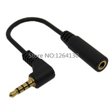 10cm 90 Degree Right Angle 4 Pole TRRS 3.5mm Aux Audio Cable Extender Adapter M/F 3.5mm for PC OR Mic-earphone Free Shipping