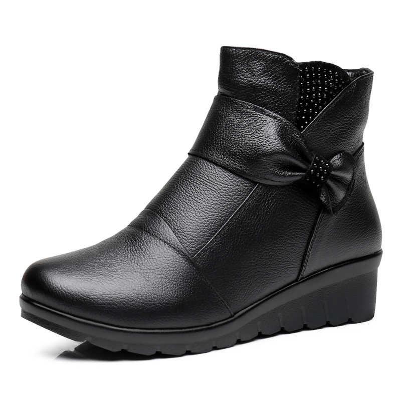 ZZPOHE 2017 Mùa Đông Mới Phụ Nữ Giày Phụ Nữ Da Chính Hãng Phẳng mắt cá chân Khởi Động già Cộng Với kích thước Ấm Tuyết Boots Mẹ cotton giày