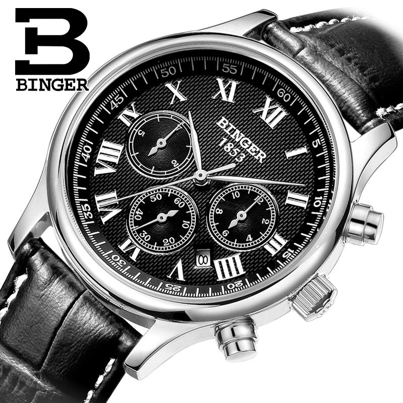 Switzerland watches men luxury brand Wristwatches BINGER Automatic self-wind leather strap Waterproof B6036-4 switzerland watches men luxury brand men s watches binger luminous automatic self wind full stainless steel waterproof b5036 10