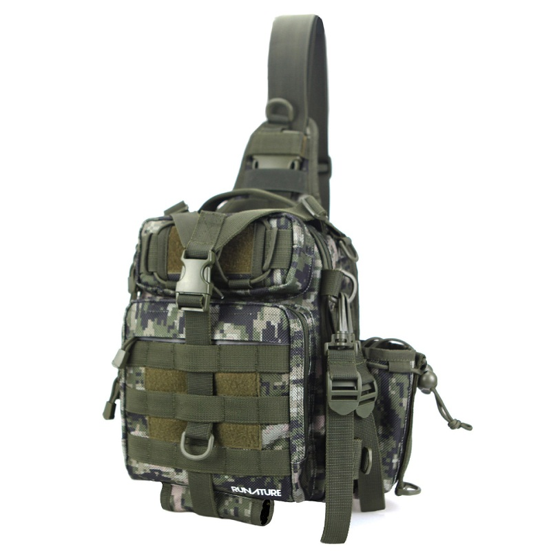 Runature Fishing Bags Chest Shoulder Crossbody Bag Tactical Sling Bag Nylon Waterproof Camo MOLLE Outdoor Bag For Fishing camo print nylon crossbody bag