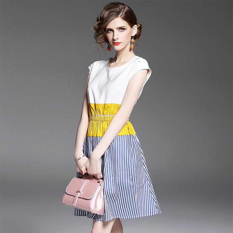 Genou Haute Nouveau De Femmes Longueur Mode blanc O 2017 Printemps Patchwork Chart See Bref cou Qualité Robe XppwrPqfn