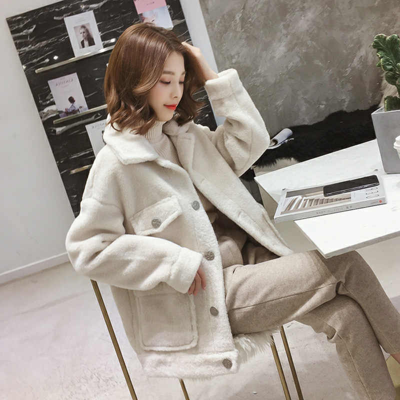 2019 New Winter Jacket Short Casual Sheep Wool Jacket Large size Thick pink Beige  Imitation Cashmere Jacket AS157