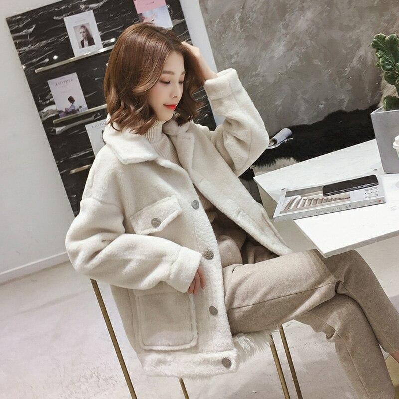2019 nouvelle veste d'hiver courte décontracté veste en laine de mouton grande taille épais rose Beige Imitation cachemire veste AS157