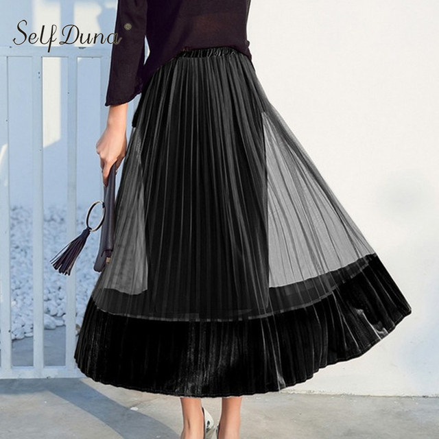 fcfc51ff5b Self Duna 2018 Autumn Winter Women Long Tulle Skirts High Waist Velvet Skirt  Green Elegant Lady Vintage Mesh Maxi Pleated Skirt