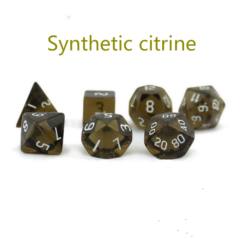High-end Dragon and Dungeon D20 System Synthesis Tea Crystal Multi-faceted Digital Dice 7 Sets Stable Antai