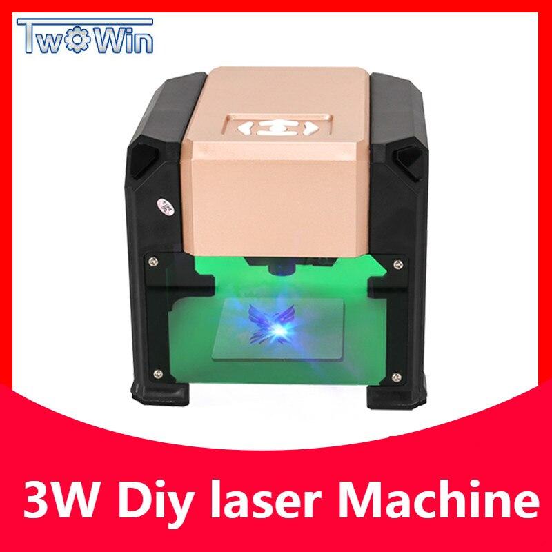 3000mw Automatic Type High Speed Laser Engraving Machine USB DIY Carving Handicraft Wood Engraver
