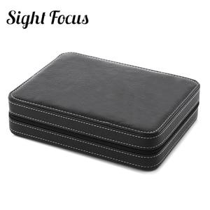 Image 4 - Sight Focus 2 4 8 Grids Travel Watch Organizer Box Zipper PU Leather Watch Case Protable Storage Wristwatch Holder Black coffee