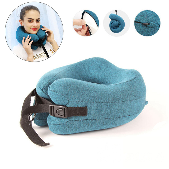 Adjustable U Shape Memory Foam Travel Neck Pillow Foldable Head Neck Chin Support Cushion for Sleeping on Airplane Car Office