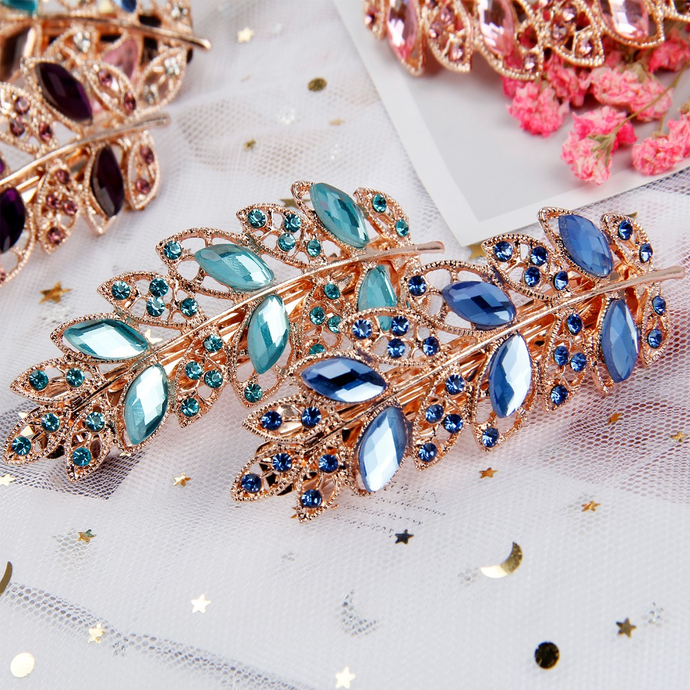 Hair Clips for Women Full Diamond Hairclip Hair Band Metal 4*1.5inch Scrunchie Hairpins BB Hairgrip Girls Hair Accessories