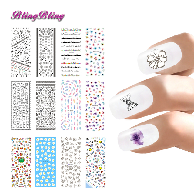 Beauty Nail Art Design Water Stickers Decals Fantasy Flower Lace