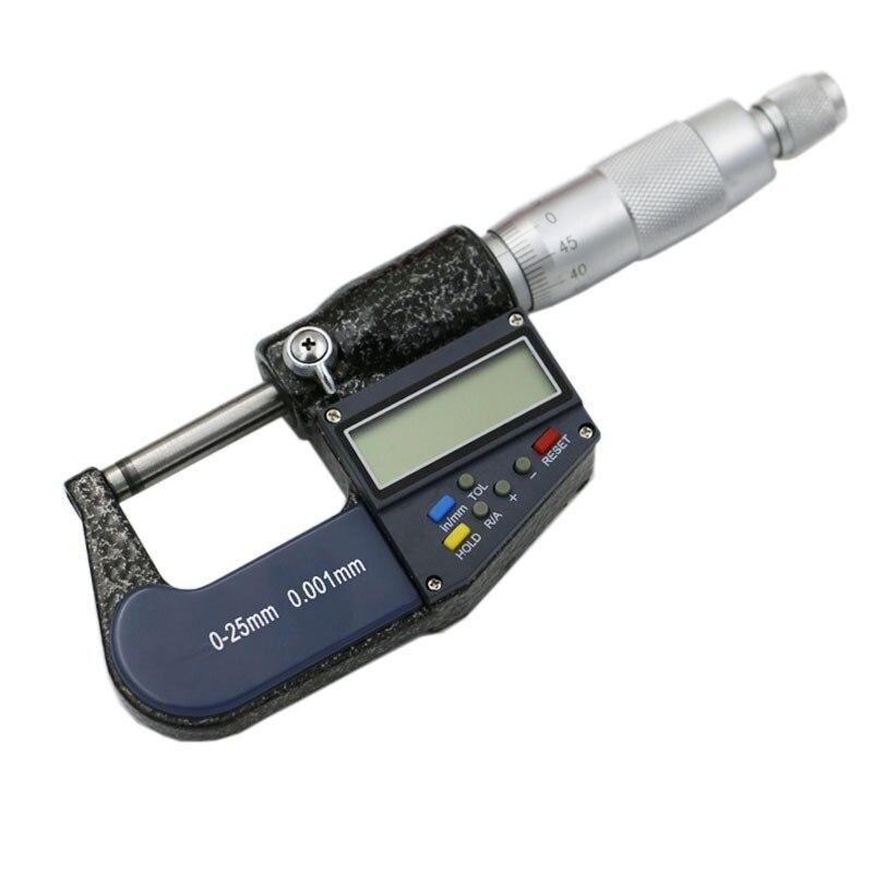 Milímetros Eletrônica Digital Caliper Calibre Micrômetro Fora 0-25mm Tela Lcd Paquímetro Medida Ferramentas 0.001