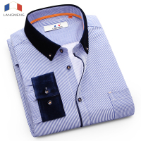 Langmeng New Business Men Shirt Fashion Long Sleeve Turn Down Slim Fit Casual Shirt High Quality