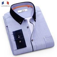 Langmeng New Business Men Shirt Fashion Long Sleeve Turn Down Slim Fit Casual Shirt High Quality