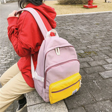 For Female Geometric Backpack Brand Student Panelled Letter Zipper Canvas Pink Business School Bags For Teenagers Bd08 Bookbag