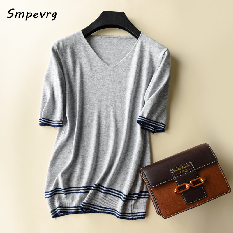 Smpevrg 18 Summer New Ladies Sweaters Women Sweaters And Pullovers V-neck Short Sleeve Women Pullovers Female Knitted Wool Shirt