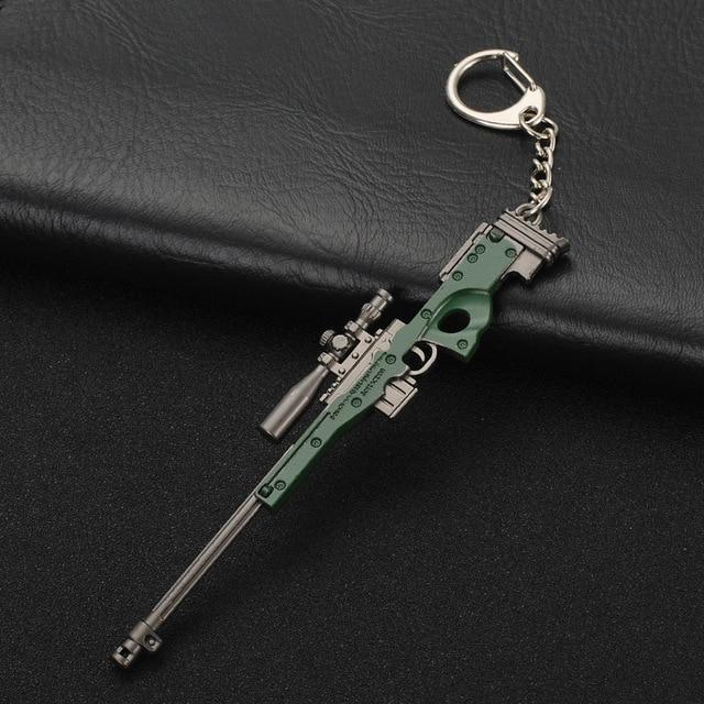 Porte-clés PUBG FPS joueur de jeu terrain de bataille inconnu 3D porte-clés arme manger poulet jeu ce soir porte-clés de voiture pour hommes